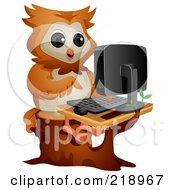 Royalty Free RF Clipart Illustration Of A Cute Owl Using A Computer
