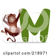 Royalty Free RF Clipart Illustration Of An Animal Alphabet With A Monkey By A M by BNP Design Studio