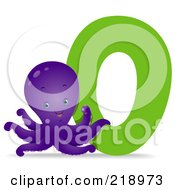 Royalty Free RF Clipart Illustration Of An Animal Alphabet With An Octopus By An O by BNP Design Studio