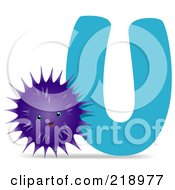 Royalty Free RF Clipart Illustration Of An Animal Alphabet With An Urchin By A U by BNP Design Studio