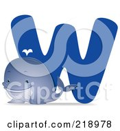 Royalty Free RF Clipart Illustration Of An Animal Alphabet With A Whale By A W by BNP Design Studio