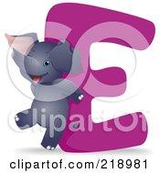 Animal Alphabet With An Elephant By An E