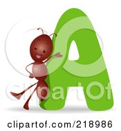 Royalty Free RF Clipart Illustration Of An Animal Alphabet With An Ant By An A by BNP Design Studio