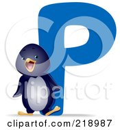 Royalty Free RF Clipart Illustration Of An Animal Alphabet With A Penguin By A P by BNP Design Studio