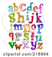 Digital Collage Of Lowercase Sketched Letters In Different Colors