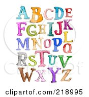 Digital Collage Of Capital Sketched Letters In Different Colors