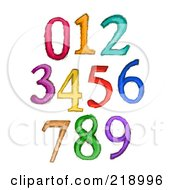 Royalty Free RF Clipart Illustration Of A Digital Collage Of Sketched Numbers In Different Colors