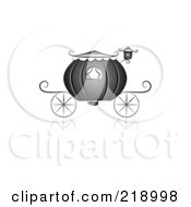 Royalty Free RF Clipart Illustration Of An Ornate Black And White Wedding Carriage Design