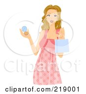 Dirty Blond Woman Holding A Shopping Bag And Makeup Compact