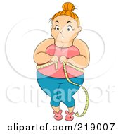Royalty Free RF Clipart Illustration Of A Chubby Woman Standing And Measuring Her Waist by BNP Design Studio