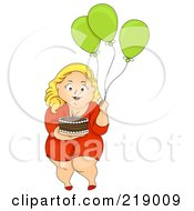 Royalty Free RF Clipart Illustration Of A Chubby Woman Carrying A Birthday Cake And Balloons by BNP Design Studio