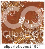 Clipart Picture Illustration Of A Brown Background Of Orange And White Curly Vines With Flower Blooms