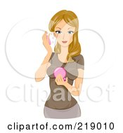 Royalty Free RF Clipart Illustration Of A Dirty Blond Woman Applying Face Powder