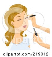 Royalty Free RF Clipart Illustration Of A Dirty Blond Woman Getting Eyeliner Applied by BNP Design Studio
