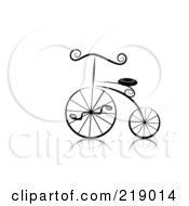 Royalty Free RF Clipart Illustration Of An Ornate Black And White Bicycle Design by BNP Design Studio