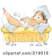 Chubby Woman Scrubbing Up In A Bubble Bath