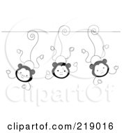 Ornate Black And White Three Monkeys Design