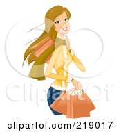 Dirty Blond Woman Shopping In The Winter