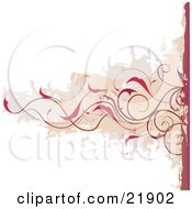 Horizontal Red-Brown Curly Vine With Red Flowers Over A Brown And Gray Grunge Background With White