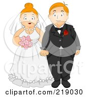 Royalty Free RF Clipart Illustration Of A Chubby Bride And Groom Holding Hands by BNP Design Studio