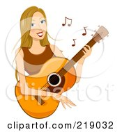 Royalty Free RF Clipart Illustration Of A Dirty Blond Woman Playing A Guitar