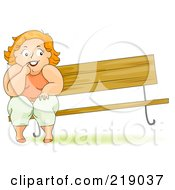 Royalty Free RF Clipart Illustration Of A Chubby Woman Sitting On A Bench The Other Side Lifting Up