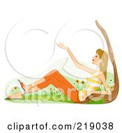 Royalty Free RF Clipart Illustration Of A Dirty Blond Woman Sitting Against A Tree And Enjoying Nature