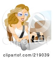Dirty Blond Woman Wearing Glasses And Driving