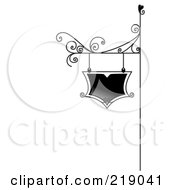 Royalty Free RF Clipart Illustration Of An Ornate Black And White Sign Board