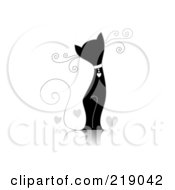 Royalty Free RF Clipart Illustration Of An Ornate Black And White Cat Design With Hearts by BNP Design Studio #COLLC219042-0148
