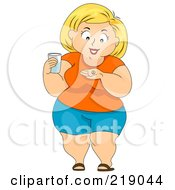 Royalty Free RF Clipart Illustration Of A Chubby Woman Taking A Pill With Water by BNP Design Studio