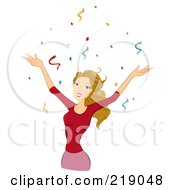 Royalty Free RF Clipart Illustration Of A Dirty Blond Woman Celebrating In Confetti
