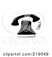 Royalty Free RF Clipart Illustration Of An Ornate Black And White Ringing Phone Design
