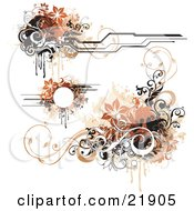 Clipart Picture Illustration Of A Collection Of Design Elements With Orange Black Brown And White Flowers And Vines