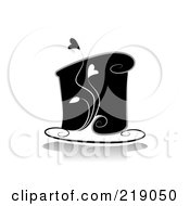 Royalty Free RF Clipart Illustration Of An Ornate Black And White Cake Design With Hearts by BNP Design Studio