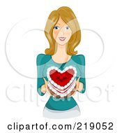 Royalty Free RF Clipart Illustration Of A Dirty Blond Woman Holding A Heart Cake