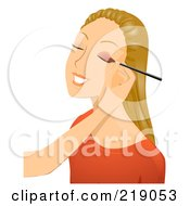 Royalty Free RF Clipart Illustration Of A Dirty Blond Woman Getting Eyeshadow Applied