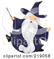 Royalty Free RF Clipart Illustration Of A Chubby Old Wizard In A Dark Blue Gown by BNP Design Studio