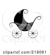 Royalty Free RF Clipart Illustration Of An Ornate Black And White Baby Pram by BNP Design Studio
