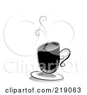 Royalty Free RF Clipart Illustration Of An Ornate Black And White Hot Coffee Design by BNP Design Studio