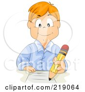 Royalty Free RF Clipart Illustration Of A Red Haired School Boy Doing Homework With A Pencil by BNP Design Studio