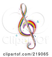 Royalty Free RF Clipart Illustration Of A Rainbow G Clef Music Note by BNP Design Studio