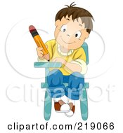 Royalty Free RF Clipart Illustration Of A Boy Writing And Sitting In His School Desk