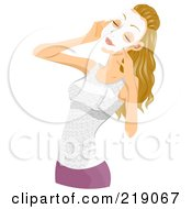 Royalty Free RF Clipart Illustration Of A Pretty Blond Woman Applying A White Face Mask