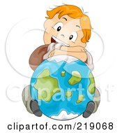 Royalty Free RF Clipart Illustration Of A Red Haired School Boy Resting His Arms And Head On A Globe by BNP Design Studio
