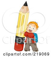Royalty Free RF Clipart Illustration Of A Red Haired School Boy Pushing Up A Pencil by BNP Design Studio