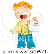 Red Haired School Boy Holding An A Plus Report Card