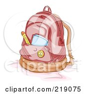 Royalty Free RF Clipart Illustration Of A Notebook And Pencil In A Backpack Pocket