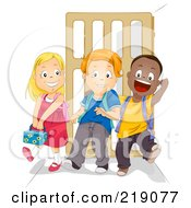Royalty Free RF Clipart Illustration Of Diverse School Children Walking Together After School