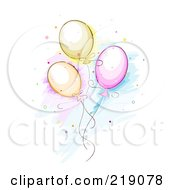 Royalty Free RF Clipart Illustration Of A Sketch Of Three Balloons And Confetti